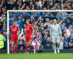 17.10.2010, Goodison Park, Liverpool, ENG, PL, Everton FC vs Liverpool FC, im Bild Liverpool's Jamie Carragher, Sotirios Kyrgiakos and goalkeeper Jose Reina looksdejected after conceding Everton's opening goal during the 214th Merseyside Derby match at Goodison Park, EXPA Pictures © 2010, PhotoCredit: EXPA/ Propaganda/ D. Rawcliffe *** ATTENTION *** UK OUT!