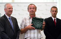 Branko Florjanic of 1. SNL, ... and Aleksander Ceferin, president of NZS at receiving awards of NZS and PrvaLiga draw before new football season 2011/2012 in Slovenia, on June 23, 2011, in Hotel Kokra, Brdo pri Kranju, Slovenia. (Photo by Vid Ponikvar / Sportida)