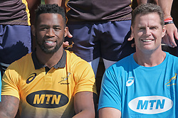 JOHANNESBURG, SOUTH AFRICA MAY 28: From left, Sprinbok captain Siya Kolisi and Springbok coach Rassie Erasmus during training on 28 May 2018 in Johannesburg South Africa. Both Pieter-Steph du Toit and Siya Kolisi were announced by Springboks coach Rassie Erasmus as captains ahead of upcoming international games against Wales and England, the Springbok captaincy is a first for both players. They attended a training session with the Springbok rugby squad and coaching staff at St Stithians School. (Photo by Dino Lloyd)