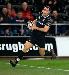 Ospreys' Tom Habberfield crosses the line only for it to be ruled out<br /> <br /> Photographer Simon King/Replay Images<br /> <br /> Guinness PRO14 Round 19 - Ospreys v Connacht - Friday 6th April 2018 - Liberty Stadium - Swansea<br /> <br /> World Copyright © Replay Images . All rights reserved. info@replayimages.co.uk - http://replayimages.co.uk