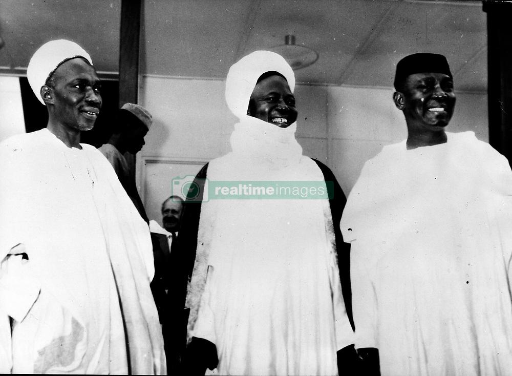 Jan. 16, 1966 - Lagos, Nigeria - ABUBAKAR TAFAWA BALEWE was a Nigerian politician, and the only Prime Minister of an independent Nigeria. PICTURED: Balewe with the chief of the Northern Region SIR AHMADU BELLO called Sardona of Sokoto, and DR. NNAMDI AZIKIWE.  (Credit Image: © Keystone Press Agency/Keystone USA via ZUMAPRESS.com)