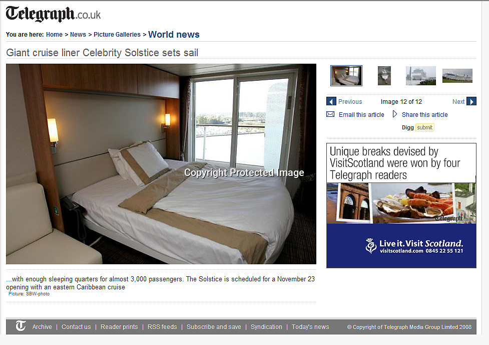 Celebrity Solstice. Daily Telegraph. UK.