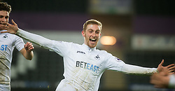 SWANSEA, WALES - Tuesday, January 10, 2017:  Swansea City's Oliver McBurnie celebrates scoring the second goal against Wolverhampton Wanderers during the Football League Trophy 3rd Round match at the Liberty Stadium. (Pic by Gwenno Davies/Propaganda)
