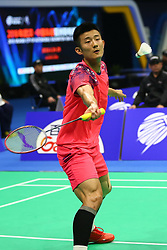 April 26, 2018 - Wuhan, Wuhan, China - Wuhan, CHINA-26th April 2018: Chinese badminton player Chen Long defeats Indian badminton player Sai Praneeth B. 2-0 at 2018 Badminton Asia Championships in Wuhan, central China's Hubei Province, April 26th, 2018. (Credit Image: © SIPA Asia via ZUMA Wire)