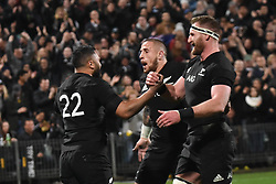 September 16, 2017 - Auckland, New Zealand - Lima Sopoaga (L) of the All Blacks celebrates after scoring a try with Kieran Read and TJ Perenara during the Rugby Championship test match between the New Zealand All Blacks and the South Africa Springboks at QBE stadium in Auckland on Sep 16, 2017. All Blacks beats Springboks 57-0. (Credit Image: © Shirley Kwok/Pacific Press via ZUMA Wire)