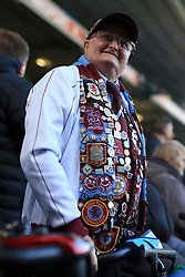 29th October 2017 - Sky Bet EFL Championship - Birmingham City v Aston Villa - A Villa fan wears a coat adorned with pins and badges - Photo: Simon Stacpoole / Offside.