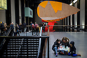 Textiles and language-themed sculpture entitled 'I Don't Know. The Weave of Textile Language' by American artist Richard Tuttle in Tate Modern's Turbine Hall.