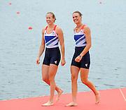 Eton Dorney, Windsor, Great Britain,..2012 London Olympic Regatta, Dorney Lake. Eton Rowing Centre, Berkshire[ Rowing]...Description;   Women's Pair Final Gold Medalist   GBR W2- Helen GLOVER (b) , Heather STANNING (s)  Dorney Lake. 12:22:12  Wednesday  01/08/2012.  [Mandatory Credit: Peter Spurrier/Intersport Images].Dorney Lake, Eton, Great Britain...Venue, Rowing, 2012 London Olympic Regatta...