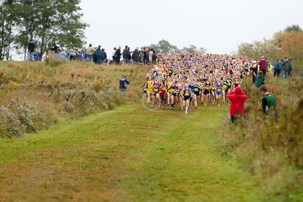 Festival of Champions High School Cross Country meet, girls seeded race, start, Bethanie Brown, Waterville, leads