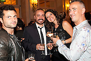 RAFFAELLO DEGRUTTOLA; LEE BOARDMAN; JENNIFER JAMES; ADAM ZANE, Aldwych theatre's Cool Hand Luke first night party. Waldorf Hilton. London. 3 October 2011. <br /> <br />  , -DO NOT ARCHIVE-© Copyright Photograph by Dafydd Jones. 248 Clapham Rd. London SW9 0PZ. Tel 0207 820 0771. www.dafjones.com.