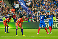 France's defender Layvin Kurzawa and France's forward Kylian Mbappe celebrate during the FIFA World Cup Russia 2018, Qualifying Group A football match between France and Netherlands on August 31, 2017 at the Stade de France in Saint-Denis, north of Paris, France - Photo Benjamin Cremel / ProSportsImages / DPPI