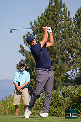 July 15, 2018 - Stateline, Nevada, U.S - Former Dallas Cowboys quarterback, TONY ROMO, tees off at the 29th annual American Century Championship at the Edgewood Tahoe Golf Course at Lake Tahoe, Stateline, Nevada, on Sunday, July 15, 2018. (Credit Image: © Tracy Barbutes via ZUMA Wire)