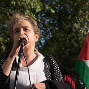 Kate Hudson of CND addresses  protests of the massacre of Palestinian protestor in Gaza by the Israelis army on the day US moving its embassy to Jerusalem outside Downing Street on 15 May 2018, London, UK.