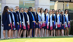 The European Team's wives and girlfriends line up for a photo before the Ryder Cup Opening Ceremony at Le Golf National, Saint-Quentin-en-Yvelines, Paris.