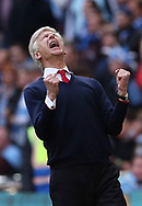 Arsenal's Arsene Wenger celebrates at the final whistle during the FA Cup Semi Final match at Wembley Stadium, London. Picture date: April 23rd, 2017. Pic credit should read: David Klein/Sportimage