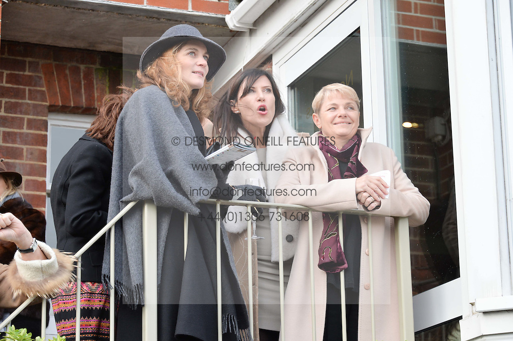 Left to right, FELICITY BLUNT, RONNI ANCONA and EVE ARNOLD at the 2015 Hennessy Gold Cup held at Newbury Racecourse, Berkshire on 28th November 2015.