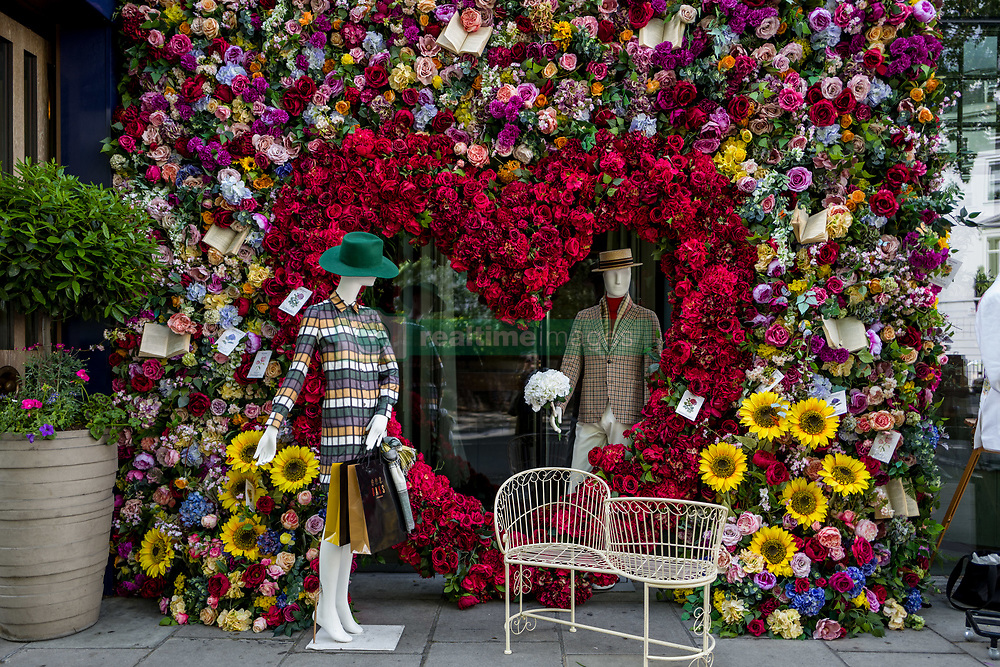 May 25, 2019 - London, UK - Chelsea in Bloom is the annual floral art show which coincides with RHS Chelsea Flower Show. This year from 20–25 May, Chelsea's best retailers, restaurants and hotels compete against one another to win the much-coveted awards for the best floral displays. For the first time, Cadogan was working alongside charity partner Plastic Oceans UK, whose vision is to end plastic pollution. Each participant interpreted the Under the Sea theme in their own unique way to compete for the annual coveted awards, and this year's winners are: Best Floral Display: Hackett, Highly Commended: Kiki McDonough, Highly Commended: Smythson, Innovation Award: Marshall Wace (Credit Image: © Velar Grant/ZUMA Wire)
