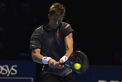 November 15, 2018 - London, England, United Kingdom - Kevin Anderson of South Africa returns the court during his round robin match against Roger Federer of Switzerland during Day Five of the Nitto ATP Finals at The O2 Arena on November 15, 2018 in London, England. (Credit Image: © Alberto Pezzali/NurPhoto via ZUMA Press)