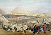 First Anglo-Afghan War 1838-1842: Cabul (Kabul) from Citadel, showing old walled city. British troops massacred here in first and second Anglo-Afghan Wars. From J Atkinson 'Sketches in Afghanistan' London 1842. Hand-coloured lithograph.