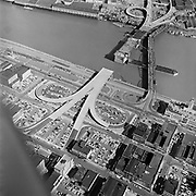 Y-580311-A12.  Morrison Bridge under construction, old Morrison Bridge is still operating. March 11, 1958