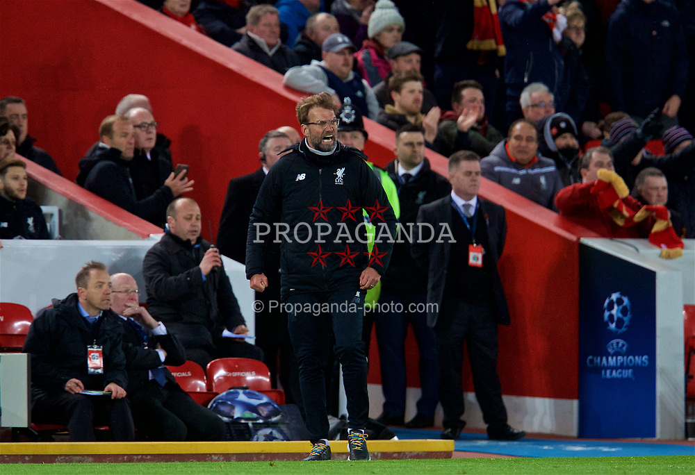 LIVERPOOL, ENGLAND - Wednesday, April 4, 2018: Liverpool's manager Jürgen Klopp celebrates the 3-0 victory after the UEFA Champions League Quarter-Final 1st Leg match between Liverpool FC and Manchester City FC at Anfield. (Pic by David Rawcliffe/Propaganda)