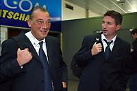 Fotball<br /> UEFA Champions League 2003/2004<br /> Foto: Digitalsport<br /> Norway Only<br /> <br /> OOSTENDE 23/10/2003<br /><br /> CLUB BRUGGE / FC BRUGES / BRÜGGE<br /> RETOUR DE MILAN<br /> TERUG VAN MILAAN<br /> RENE VERHEYEN / TROND SOLLIED<br /> PICTURE BY JIMMY BOLCINA