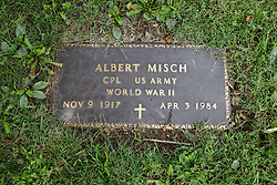 31 August 2017:   Veterans graves in Dawson Cemetery in eastern McLean County.<br /> <br /> Albert Misch  Corporal US Army  World War II  Nov 1917  Apr 3 1984
