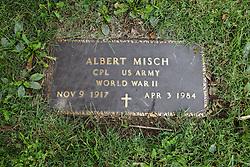 31 August 2017:   Veterans graves in Dawson Cemetery in eastern McLean County.<br /> <br /> Albert Misch  Corporal US Army  World War II  Nov 1917  Apr 3 1984