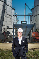 Environmental portrait of Hugh Welsh, General Counsel & President Royal DSM North America taken at the Project Liberty ethanol production site in Emmetsburg, Iowa, on August, 8, 2013.