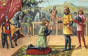 Chivalry in the Middle Ages. Soldier, having won his spurs, being created a knight. Cavalier War Military Europe Nineteenth century Trade Card Chromolithograph