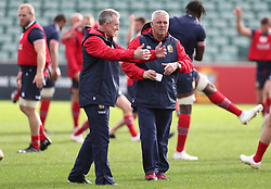 British & Irish Lions head coach Warren Gatland with assistant Rob Howley during the training session at the QBE Stadium, Auckland.