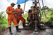 Workmen drilling to survey the density of the ground on arroz cru, which will give them a better idea about the power needed for excavation. A third of Altamira in the state of Para, Brazil will be flooded to make way for the Belo Monte dam, nearly all the people affected are the poorest in society or indigenous communities that will have nowhere to go if they were made homeless, and the Government payoff for their properties is low therefore making it difficult to find new accomodation. At present, the Arara land is protected from development, sale or new residents as it has been their ancestral land for hundreds of years, this is now one of the key areas under threat