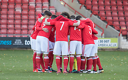 WREXHAM, WALES - Thursday, November 10, 2016: Wales players in a huddle before kick off against Greece during the UEFA European Under-19 Championship Qualifying Round Group 6 match at the Racecourse Ground. (Pic by Gavin Trafford/Propaganda)