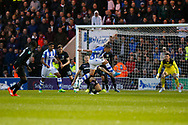 Colchester United defender Frankie Kent (6) and Colchester United striker Michael Mandron (19)' battles for possession during the EFL Cup match between Colchester United and Aston Villa at the Weston Homes Community Stadium, Colchester, England on 9 August 2017. Photo by Phil Chaplin.