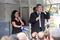 June 13, 2017 - Paris, France - Jean Luc Melenchon announces his support for Leila Chaibi (L) as LFI candidate in the second round of the parliamentary elections on June 13, 2017 in Paris, France. (Credit Image: © Julien Mattia/NurPhoto via ZUMA Press)