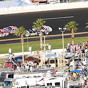 Sprint Driver Trevor Bayne (21) leads out of turn 4 during the Daytona 500 at Daytona International Speedway on February 20, 2011 in Daytona Beach, Florida. (AP Photo/Alex Menendez)