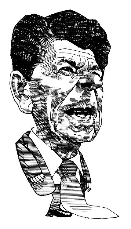 (Caricature of Ronald Reagan)