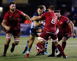 Jason Harries of Cardiff Blues is tackled by CJ Stander of Munster<br /> <br /> Photographer Simon King/Replay Images<br /> <br /> Guinness PRO14 Round 4 - Cardiff Blues v Munster - Friday 21st September 2018 - Cardiff Arms Park - Cardiff<br /> <br /> World Copyright © Replay Images . All rights reserved. info@replayimages.co.uk - http://replayimages.co.uk