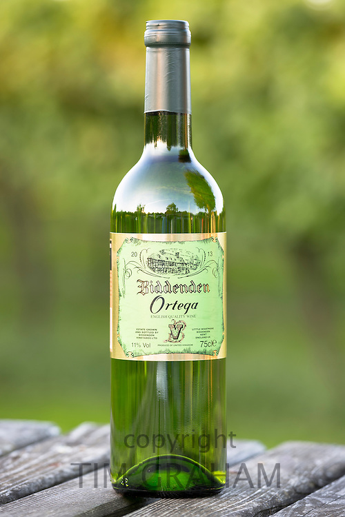 Bottle of white wine Ortega at Biddenden English Vineyards in Kent, England, UK