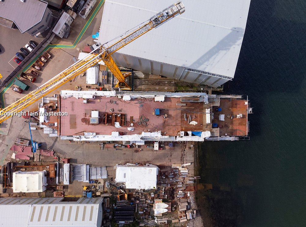 Port Glasgow, Scotland, UK. 21st September 2021. Aerial view of  unnamed ferry Hull 802 under construction at Ferguson Marine shipyard on lower River Clyde at Port Glasgow, Inverclyde. Iain Masterton/Alamy Live News.