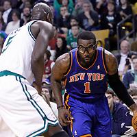 04 March 2012: New York Knicks power forward Amare Stoudemire (1) drives past Boston Celtics power forward Kevin Garnett (5) during the Boston Celtics 115-111 (OT) victory over the New York Knicks at the TD Garden, Boston, Massachusetts, USA.