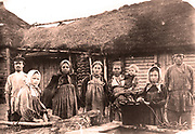 Russian peasants at a farm house around 1910