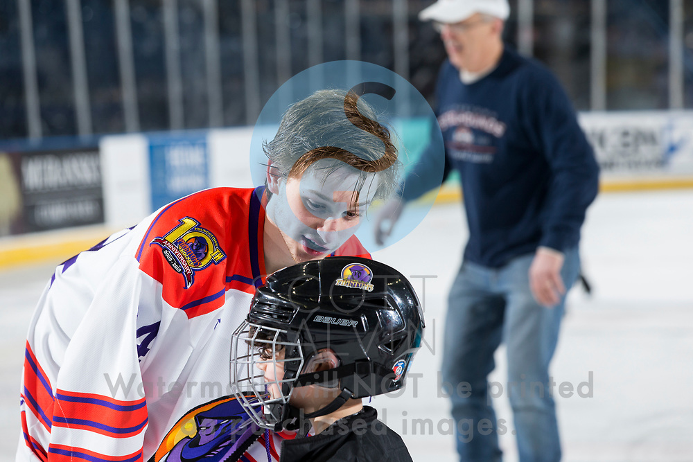 Youngstown Phantoms win 5-3 against the Tri-City Storm at the Covelli Centre on January 18, 2020.<br /> <br /> Caleb Price, defenseman, 14