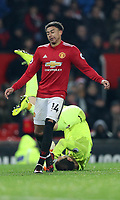 Football - 2017 / 2018 Premier League - Manchester United vs. AFC Bournemouth<br /> <br /> Asmir Begovic of Bournemouth is pushed over by Jesse Lingered of Manchester United at Old Trafford.<br /> <br /> COLORSPORT/LYNNE CAMERON