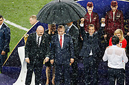 FIFA President Gianni Infantino, Russia President Vladimir Putin, France President Emmanuel Macron celebrates, Croatia President Kolinda Grabar-Kitarovic hugs head coach Zlatko Dalic during the trophies ceremony after the 2018 FIFA World Cup Russia, final football match between France and Croatia on July 15, 2018 at Luzhniki Stadium in Moscow, Russia - Photo Tarso Sarraf / FramePhoto / ProSportsImages / DPPI