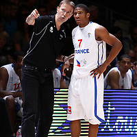 27 August 2011: Vincent Collet talks to Andrew Albicy during the friendly game won 74-44 by France over Belgium, in Lievin, France.