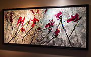 """'RESIHI' . 33.5"""" x 77.5"""" Acrylic and Ink Acrylic & Ink on Hand Stretched Canvas & Custom Crafted Frame, Created Exclusively for this Painting by Master Wood Craftsman, John Henderson."""