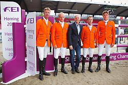 Team Netherlands: Vrieling Jur, Greve Willem, Van Der Vleuten Maikel, Dubbeldam Jeroen<br /> PSI FEI European Championships Jumping - Herning 2013<br /> © Dirk Caremans