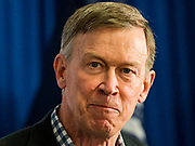 "15 JULY 2019 - DES MOINES, IOWA: Governor JOHN HICKENLOOPER (D-CO) answers reporters' questions in the ""press gaggle"" room after making his presentation at the first AARP Presidential Candidate Forum in Des Moines. The forum featured Senator Cory Booker, Governor John Hickenlooper, Senator Amy Klobuchar and Vice President Joe Biden. The AARP is hosting other forums for the rest of the Democratic field in other towns in Iowa this week. Iowa hosts the first event of the 2020 Presidential election cycle. The Iowa Caucuses are on February 3, 2020.       PHOTO BY JACK KURTZ"
