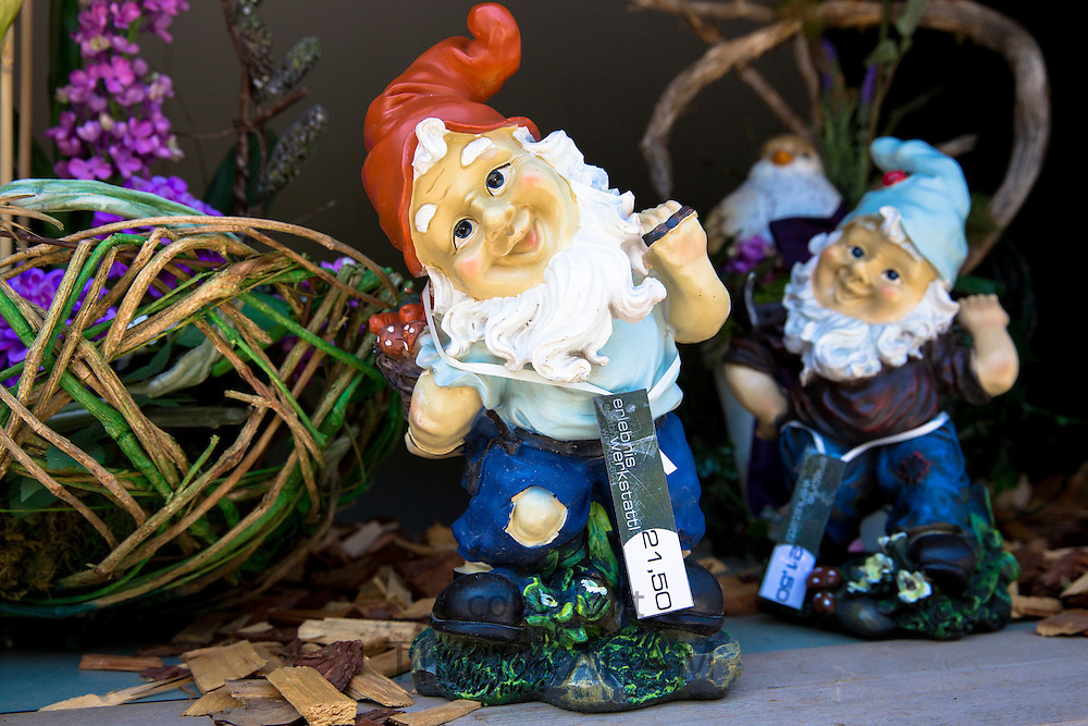 Interiors, gift and souvenir shop - Erlebnis Merksattl - selling garden gnomes in the town of Oetz in the Tyrol, Austria